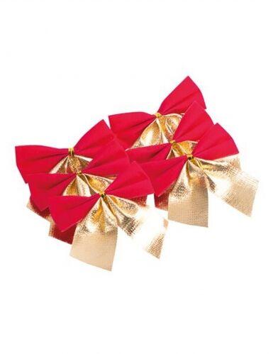 6 fiocchi adesivi in velluto rosso e oro