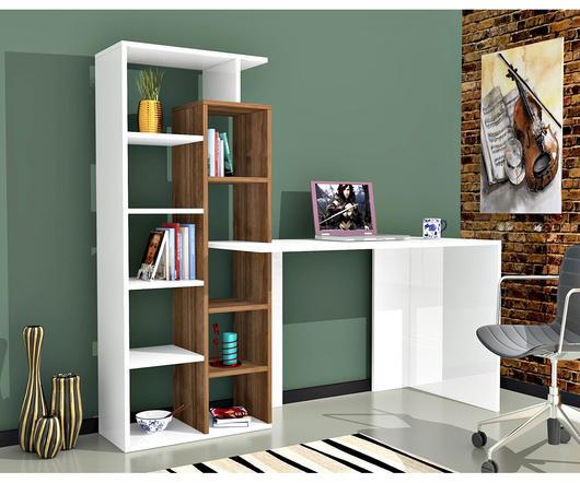 Matte Maison Scrivania poly bianca e noce con libreria integrata