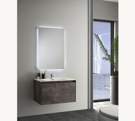 Duzzle Mobile Bagno Sospeso Slim 75 cm Effetto Ruggine con specchio Led