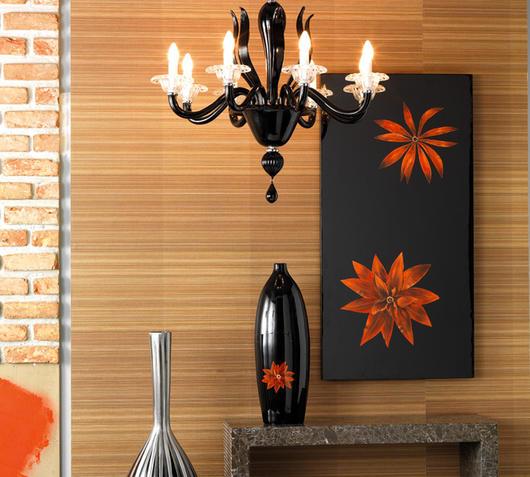 A Zig Zag Pannello da parete fiorito nero
