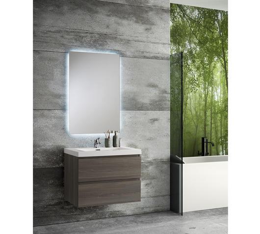 Duzzle Mobile Bagno Sospeso Angela 70 cm grigio acero con specchio led retroilluminato
