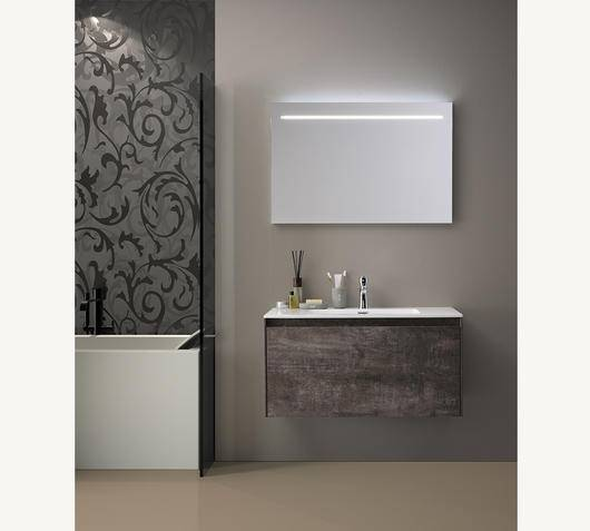 Duzzle Mobile Bagno Sospeso Slim 90 cm Effetto Ruggine con specchio Led