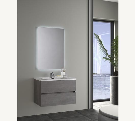 Duzzle Mobile Bagno Sospeso Edi 75 cm effetto cemento con specchio led