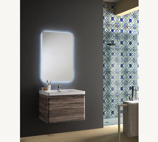 Duzzle Mobile bagno sospeso Happy 70 cm wengé con specchio Led retro illuminato