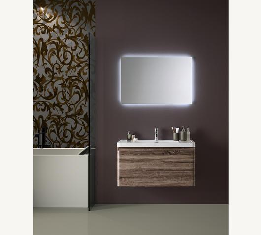 Duzzle Mobile bagno sospeso Happy 90 cm wengé con specchio Led retro illuminato