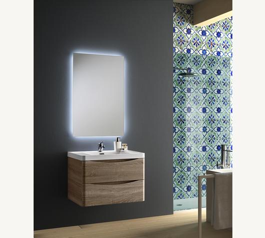 Duzzle Mobile Bagno Sospeso Smile 70 cm rovere con specchio Led retro illuminato