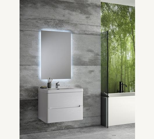 Duzzle Mobile Bagno Sospeso River 70 cm bianco con specchio Led retro illuminato