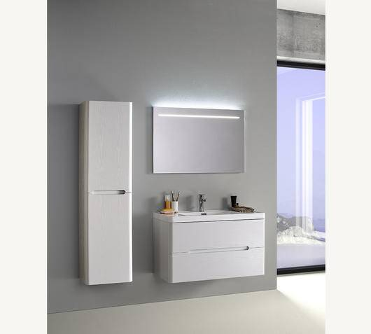 Duzzle Mobile Bagno Sospeso River 90 cm bianco con specchio e colonna