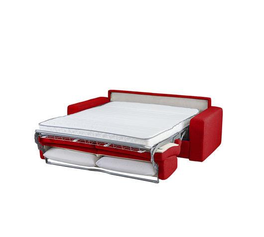 Duzzle Divano letto matrimoniale Marsiglia Rosso con materasso da 160 cm