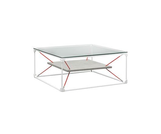 Twist Design Tavolino da salotto Noqui top in vetro e ripiano effetto cemento