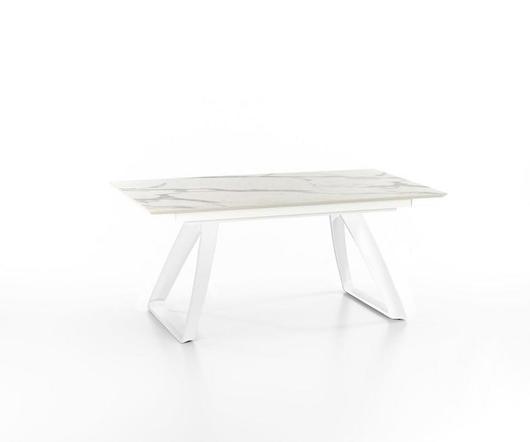Stones Tavolo allungabile Barret Base Bianca e top effetto marmo OM/340/MB