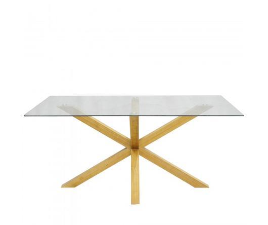 Duzzle Tavolo da pranzo Argo con top in vetro e base in legno di pino (160 x 90 cm)