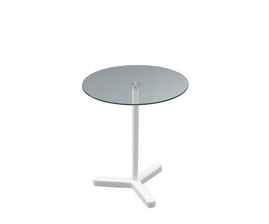 Twist Design Tavolino Leo con base in legno bianco e top in vetro