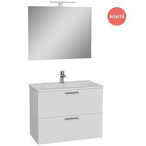 Vitra Composizione Bagno Completa Con Mobile Sospeso Bianco 80x40cm E Lavabo Con Specchio E Lampada Led Codice Prod: 75024