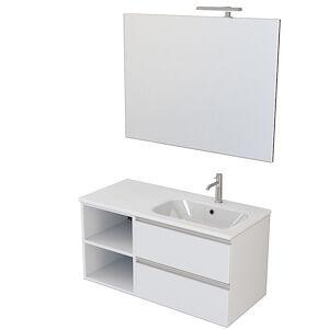 Desivero Design Classic Mobile Bagno Sospeso Bianco Opaco 100 Cm Con Lavabo E Specchio E Lampada Led