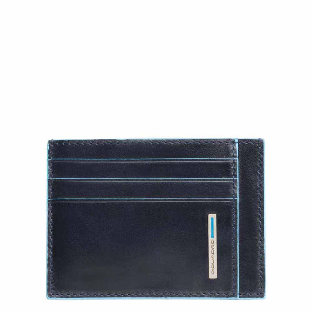 piquadro blue square porta carte di credito in pelle - blu