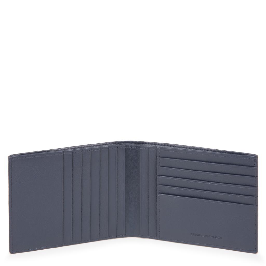 piquadro pulse p16 portafoglio uomo con porta carte di credito - chevron/blu