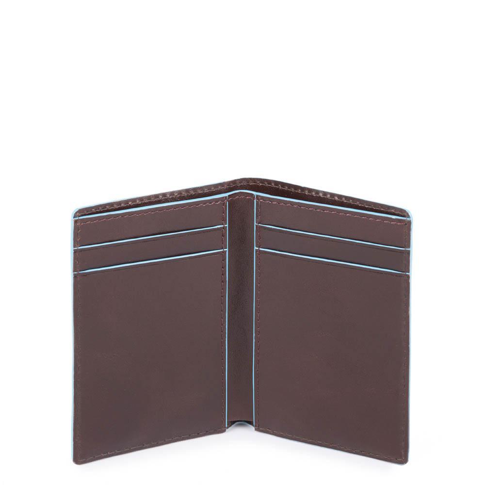 piquadro blue square porta carte di credito in pelle - mogano