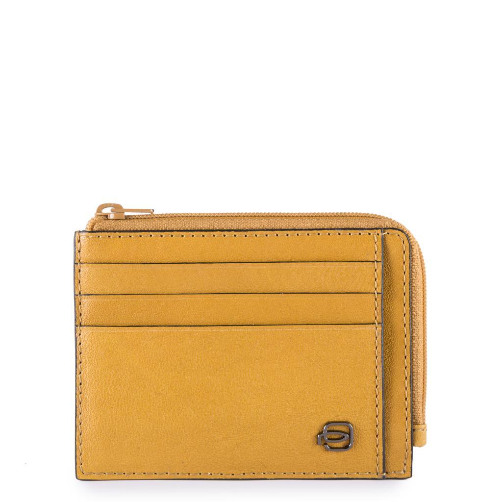 piquadro black square porta carte di credito in pelle - giallo