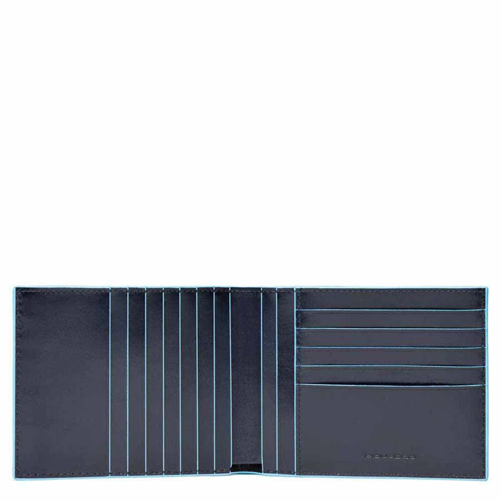 piquadro blue square portafoglio uomo con 12 porta carte di credito - blu notte