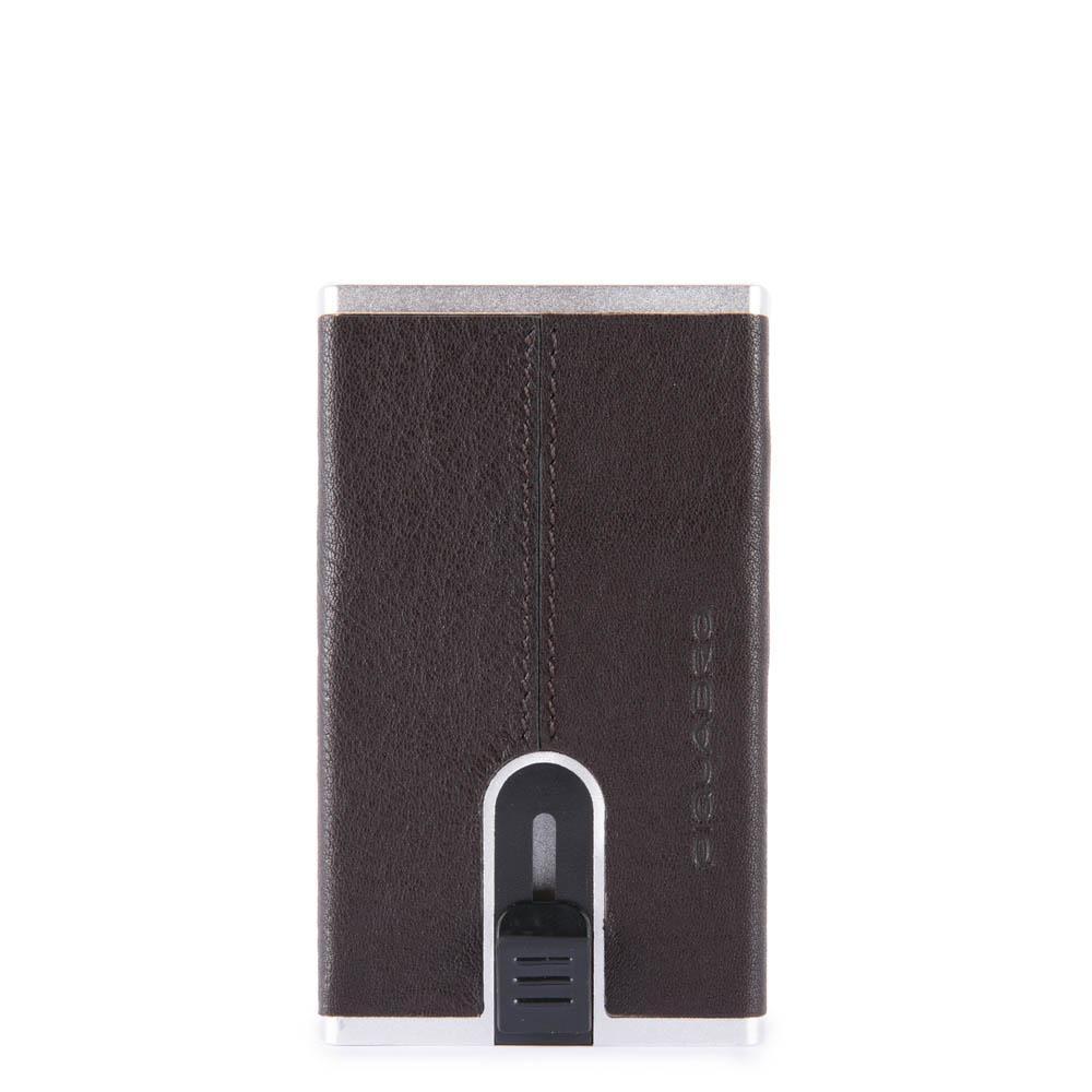 Piquadro Black Square Porta Carte Di Credito Con Sliding System - Testa Di Moro