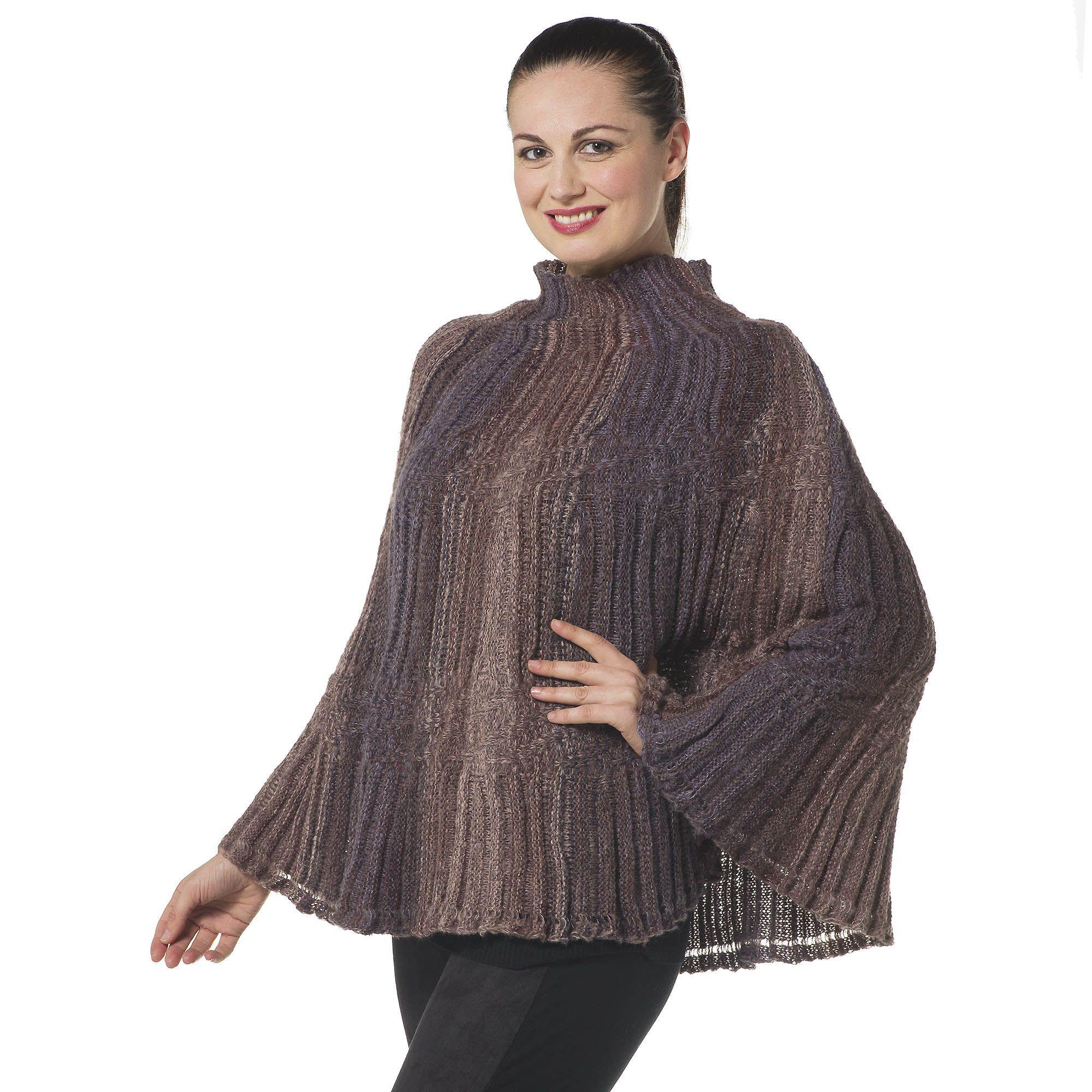 Via Poncho in maglia con lavorazione a rilievo