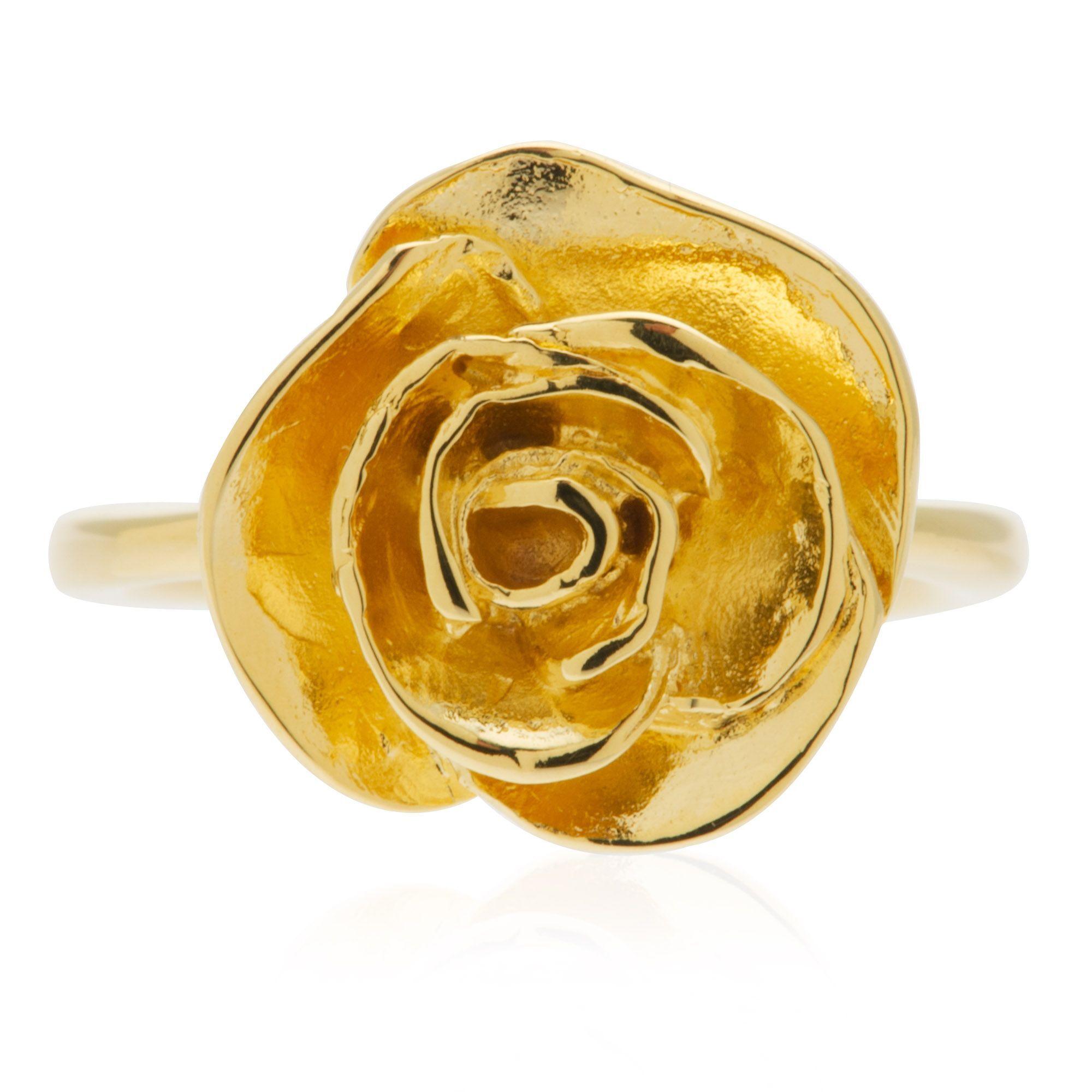 Etrusca Anello a rosa placcato oro
