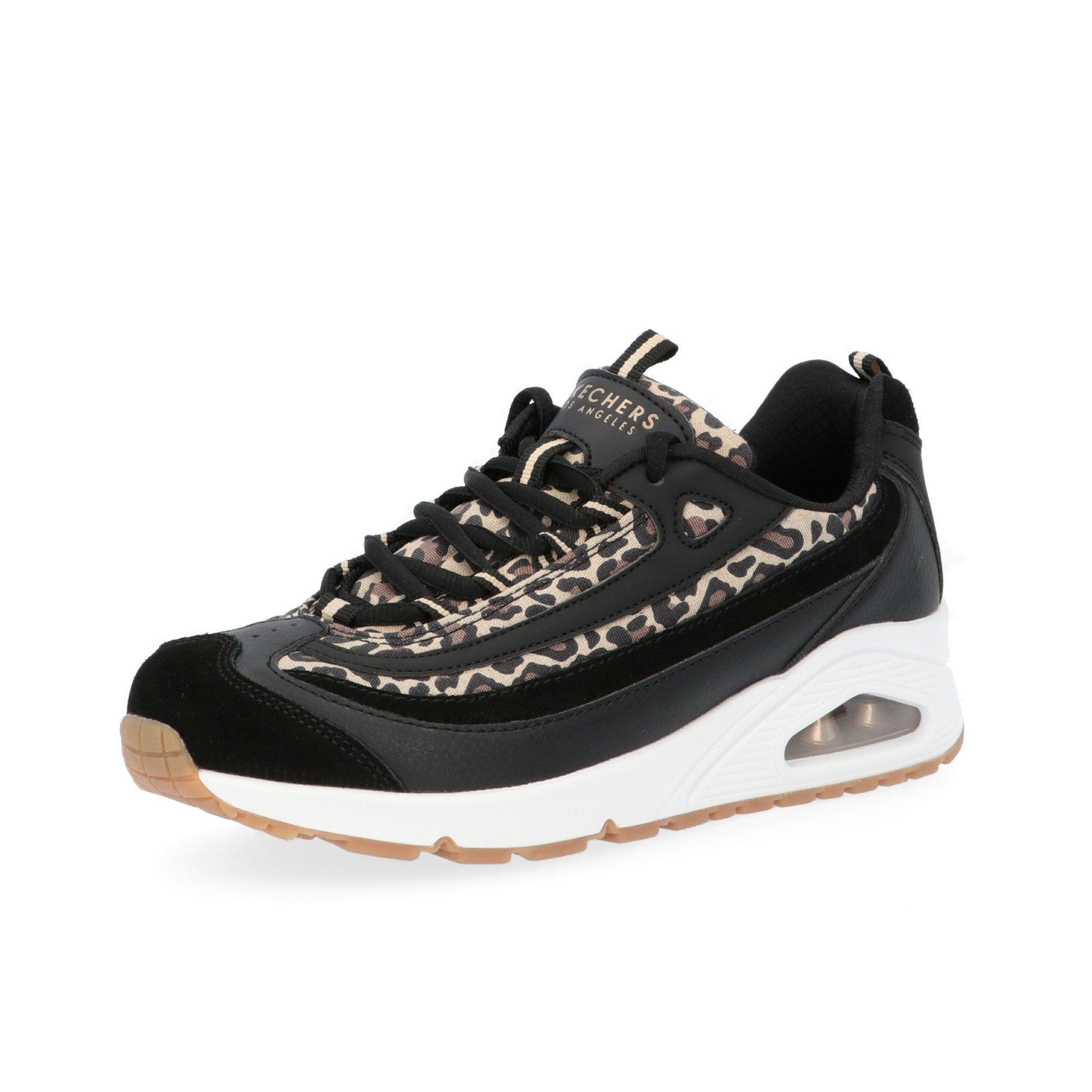 skechers sneaker uno leopardata con soletta memory foam