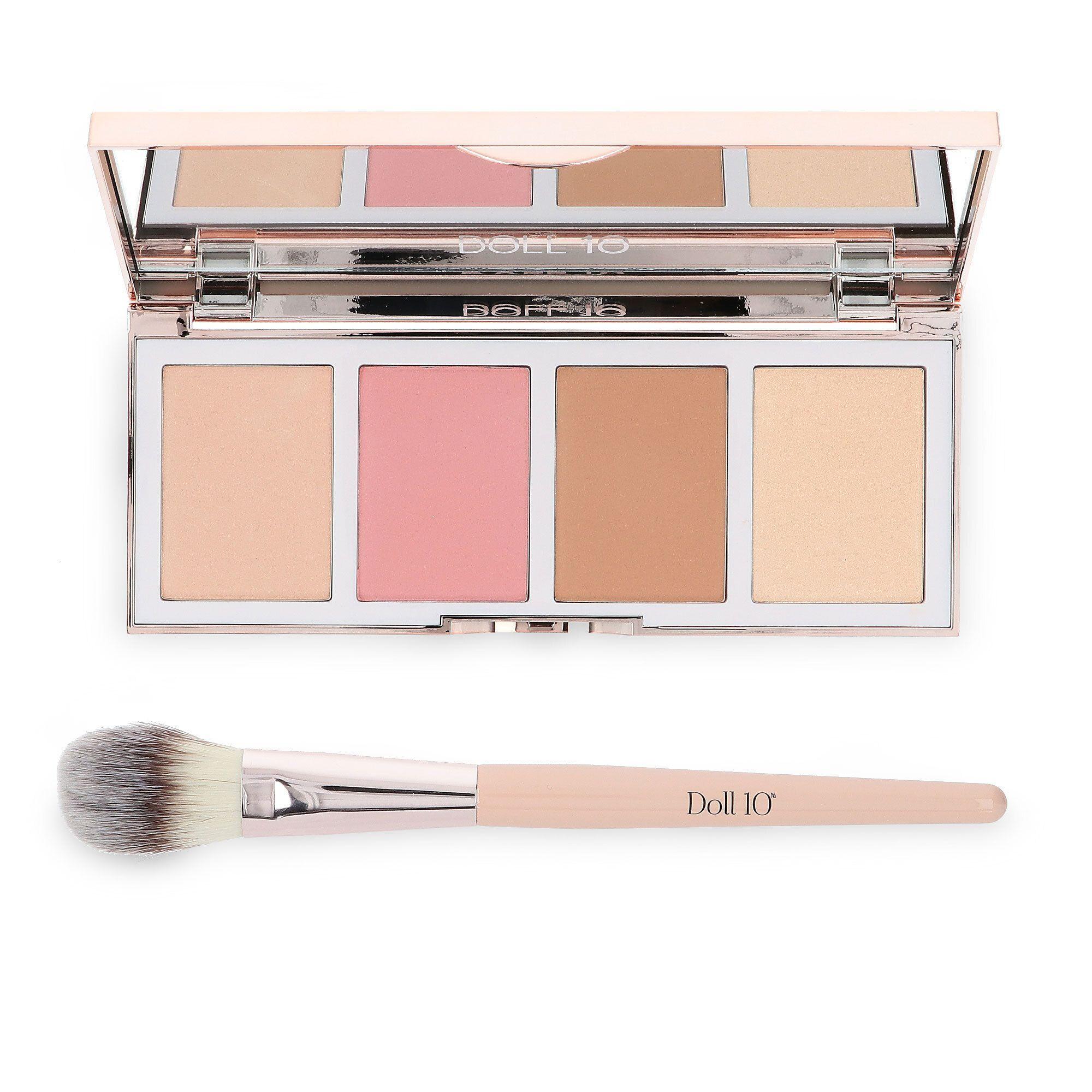 doll10 refocus glow palette: make up viso con pennello