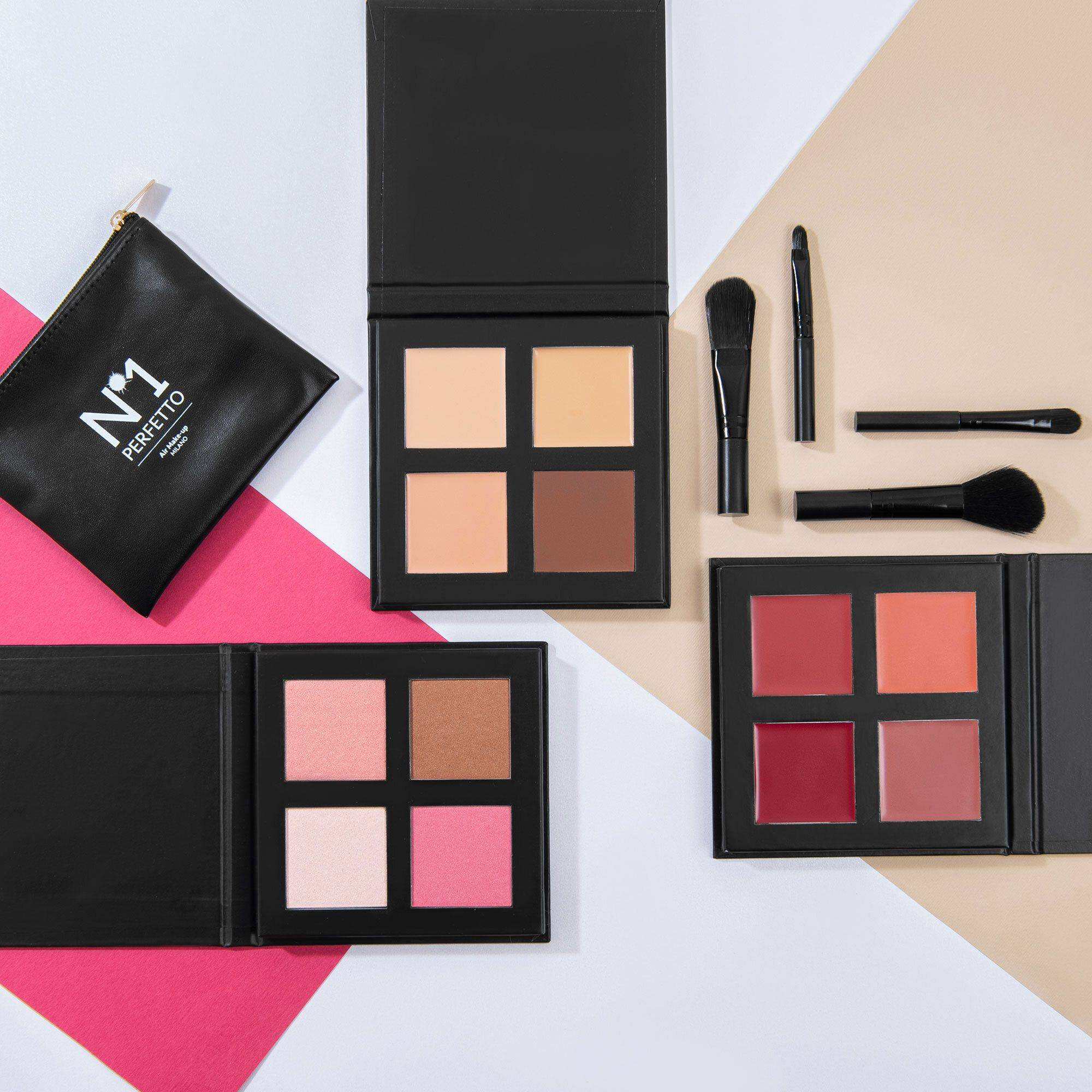 n°1 perfetto kit make up: 3 palette + 4 pennelli + beauty box