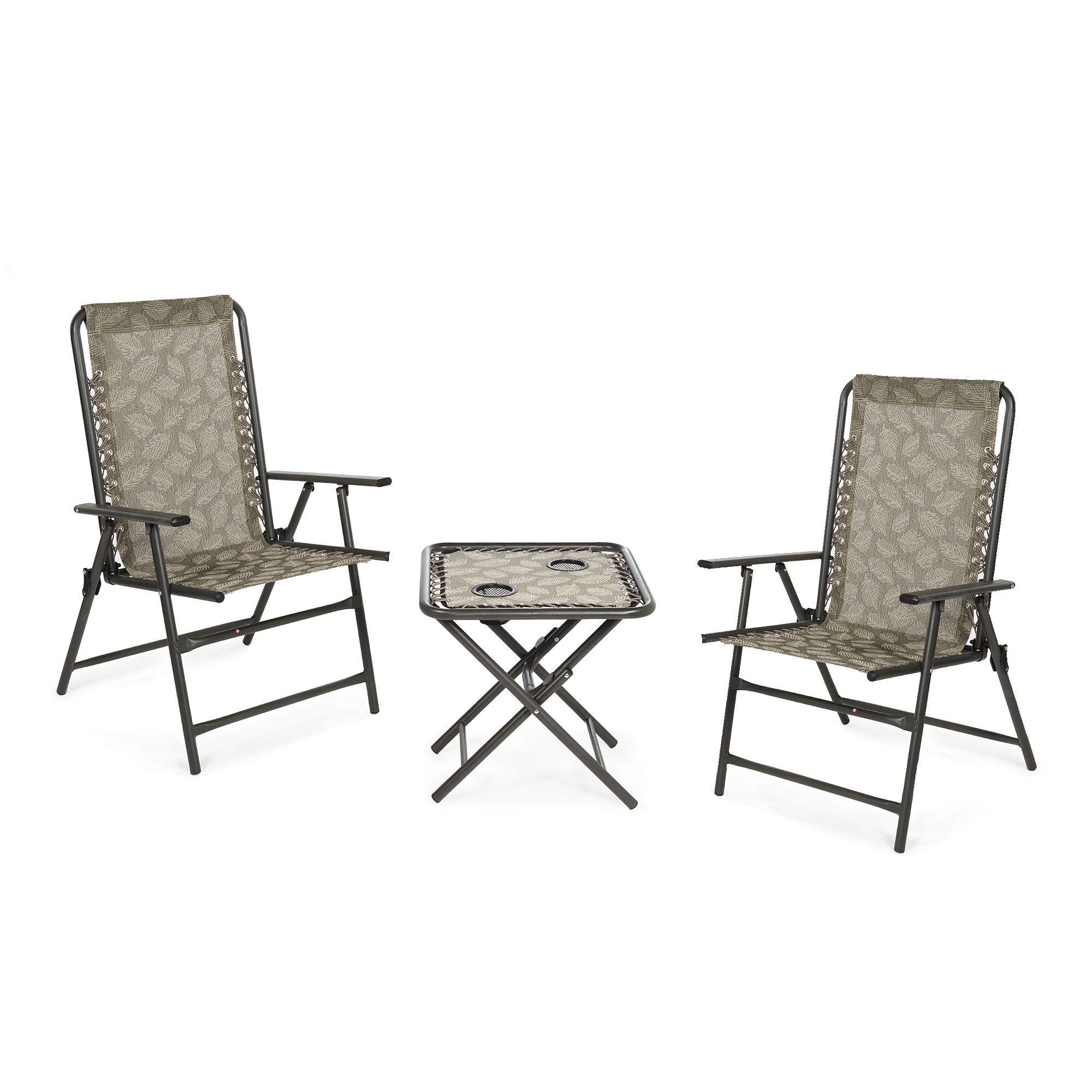 Innovators Set 2 sedie pieghevoli e tavolino con porta bicchieri (3 pz)