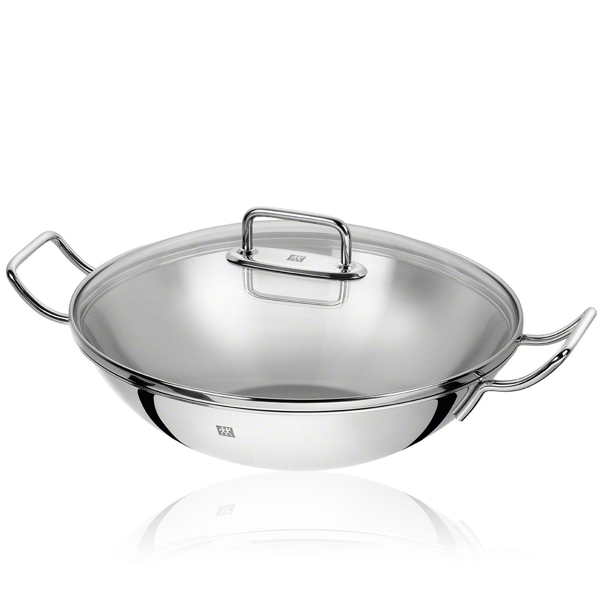 zwilling linea plus wok in acciao con coperchio vetro 32cm