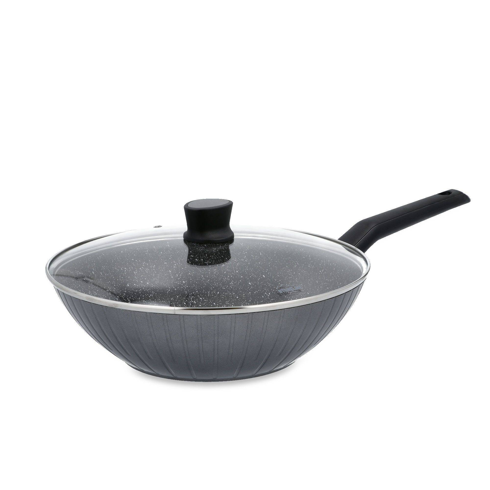stoneline wok 30cm con coperchio in vetro