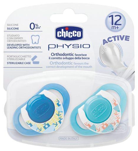 Chicco Physio Succhietti Active in silicone 12+ mesi colori blu e azzurro (2 pz) + portasucchietto