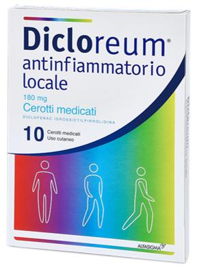 Dicloreum Antinfiammatorio e antidolorifico locale 180mg (10 cerotti medicati)