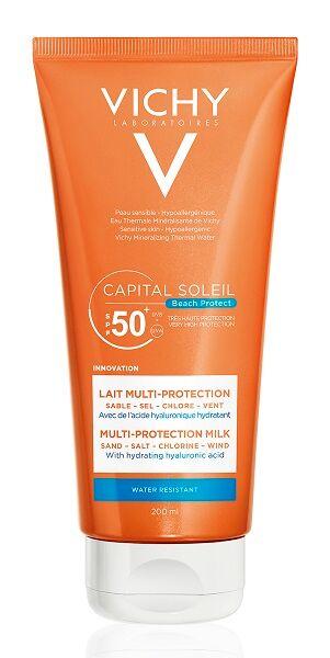 Vichy Capital Soleil Beach Protect latte solare multi protezione da sabbia sale cloro e vento per viso e corpo spf50+ (200 ml)