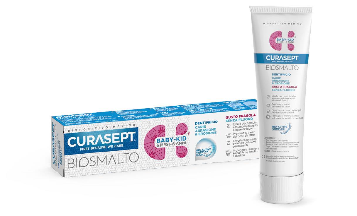 Curaden Curasept Biosmalto Baby Kid dentifricio per bambini gusto fragola senza fluoro dai 6 mesi ai 6 anni (50 ml)