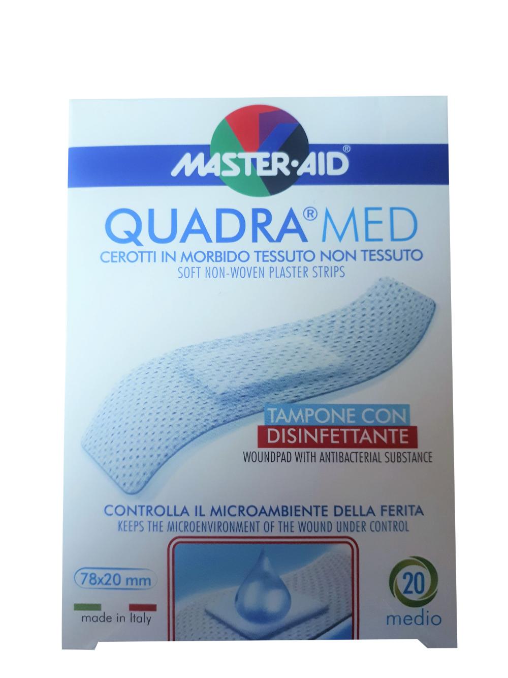 Pietra Santa Pharma Master Aid Quadramed Cerotti in tnt con tampone disinfettante formato medio (20 pz)