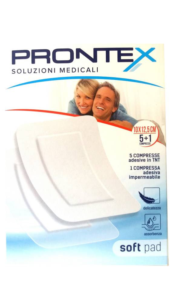 Safety Prontex Soft Pad Compresse medicali adesive in Tnt 10x12,5cm (5 pz) + Compressa impermeabile (1 pz)