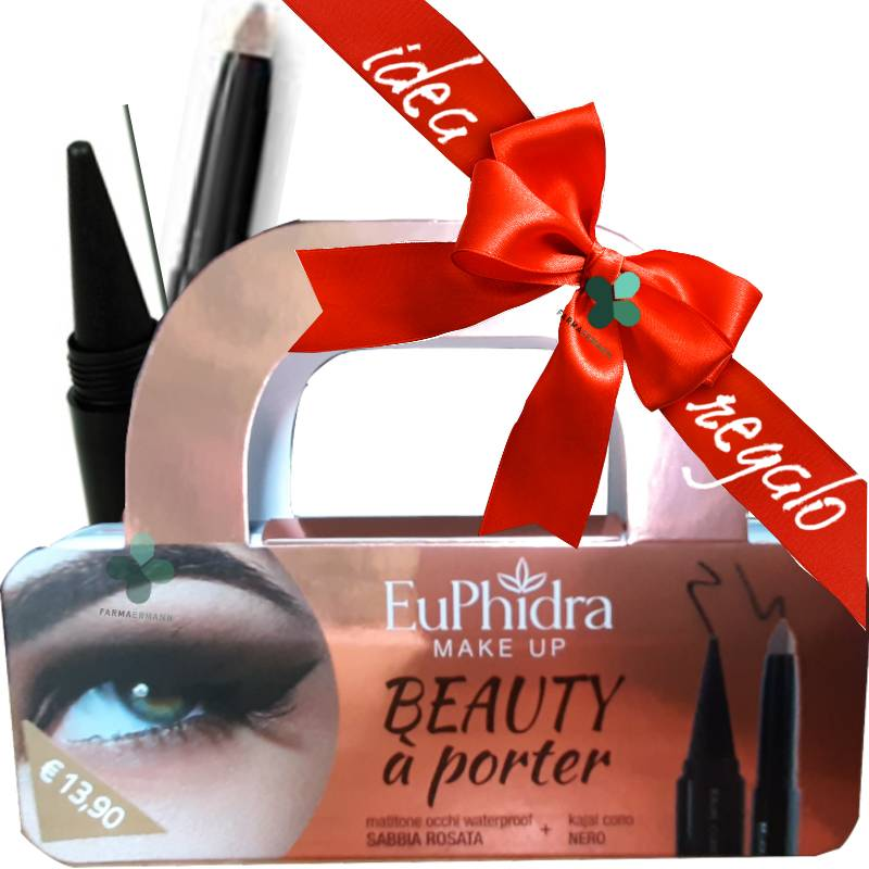 Zeta farmaceutici Euphidra Make Up Beauty à porter idee regalo (1 matitone occhi waterproof sabbia rosata + 1 kajal cono nero + astuccio in latta)