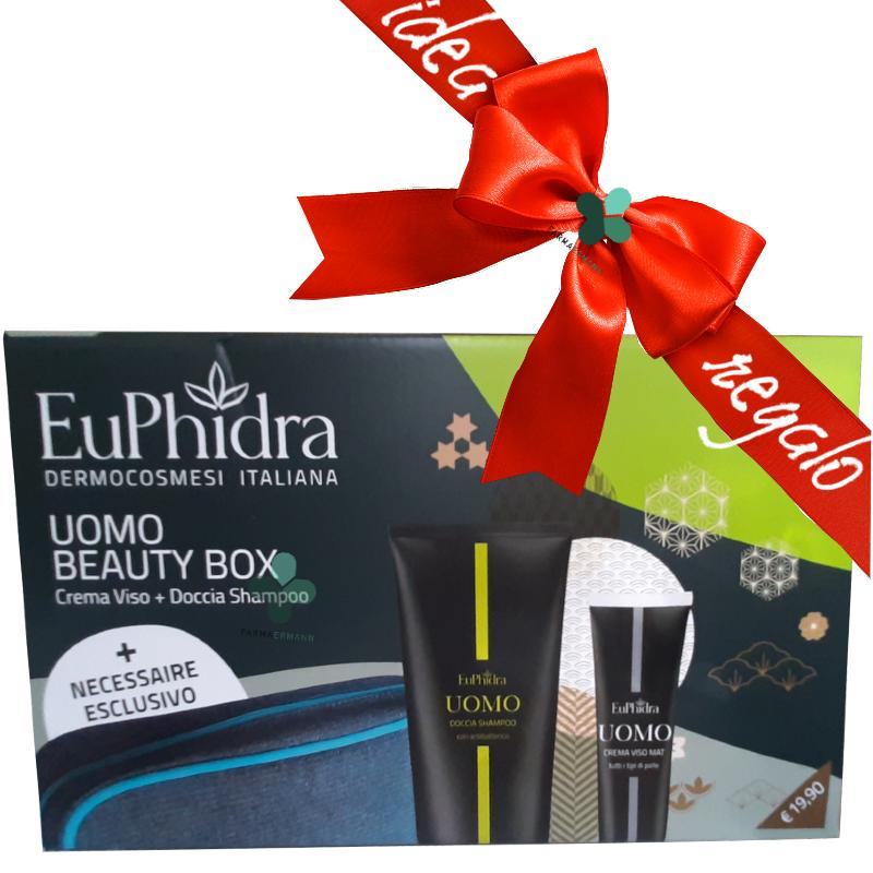 Zeta farmaceutici Euphidra Uomo beauty box idee regalo (crema viso 50ml + doccia shampoo 200ml + necessaire omaggio)