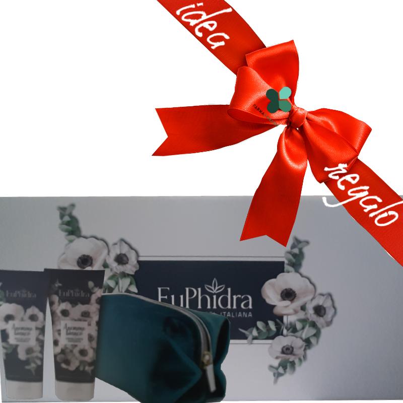 Zeta farmaceutici Euphidra Anemone bianco collection beauty box corpo idee regalo donna (doccia latte idratante 200ml + crema corpo vellutante 200ml + pochette omaggio)