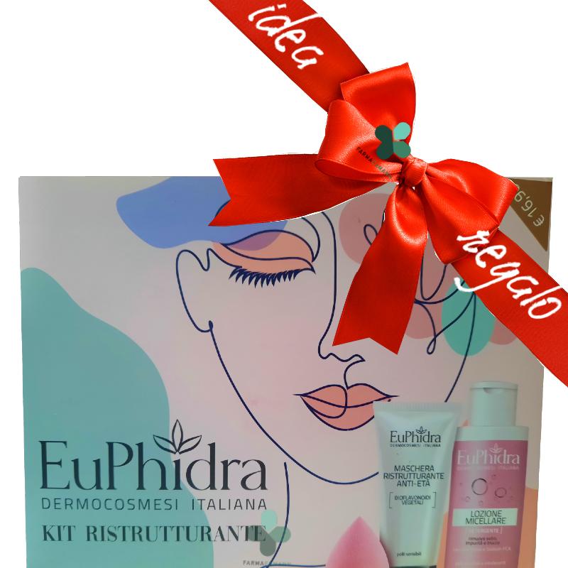 Zeta farmaceutici Euphidra Kit Rigenerante viso idee regalo donna (maschera viso 75ml + lozione micellare 100ml + makeup drop)