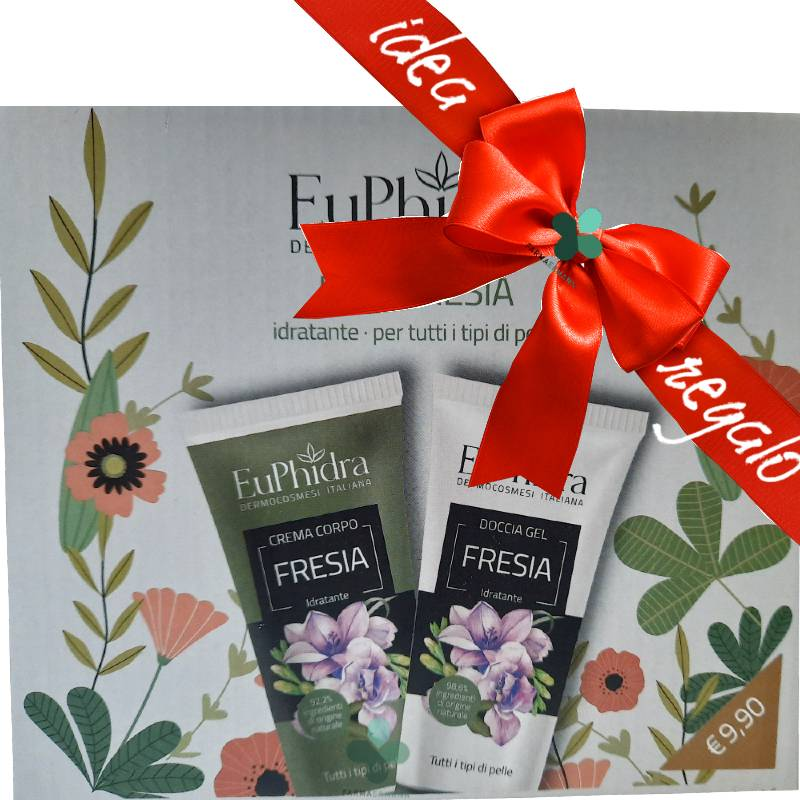 Zeta farmaceutici Euphidra Duo Fresia kit idratante corpo idee regalo donna (crema 75ml + doccia gel 75ml)