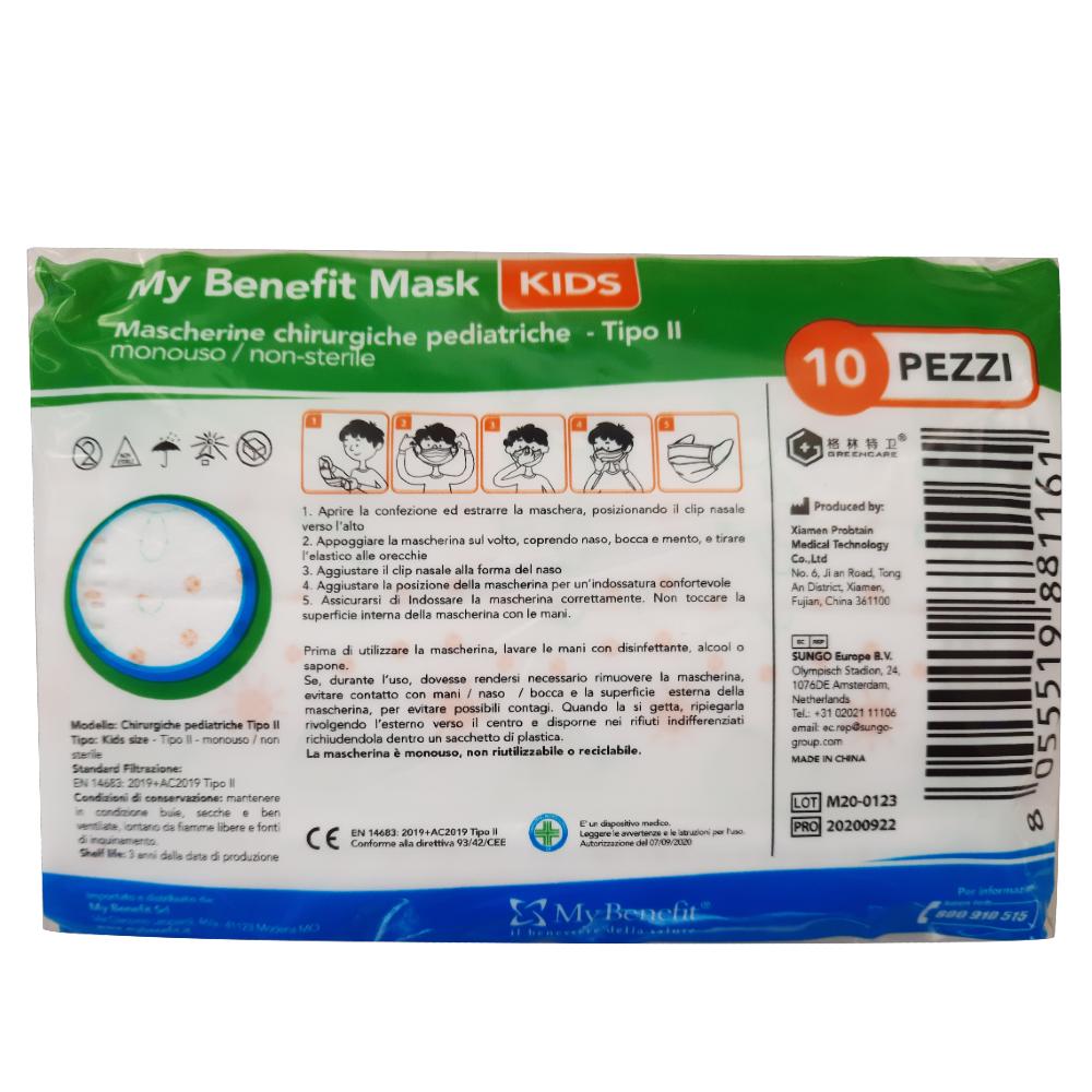 Mascherine per bambini My Benefit Mask Kids (10 pz) da 2 a 50 pezzi