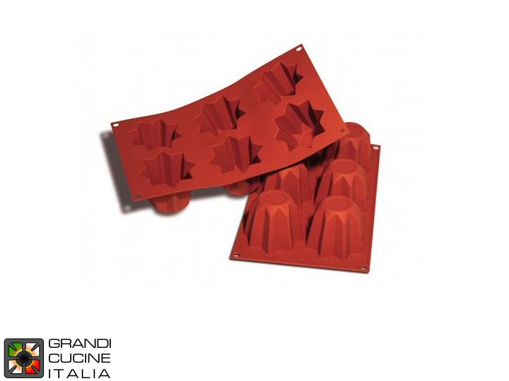 Silikomart Grandicucineitalia.it - Attrezzature per ristorazione - Stampo in silicone alimentare per N°6 Pandorini 75x75x60h mm - SF100 - Cod. 16.100.00.0000 - Silikomart