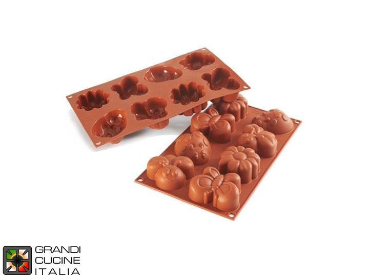 Silikomart Grandicucineitalia.it - Attrezzature per ristorazione - Stampo in silicone alimentare per N°8 Forme Springlife 77,5x57,5x32h mm - SF117 - Cod. 16.117.00.0000 - Silikomart