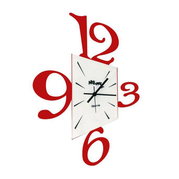 ARTI E MESTIERI orologio da parete PROSPETTIVA (Rosso scuro - Metallo e vetro)