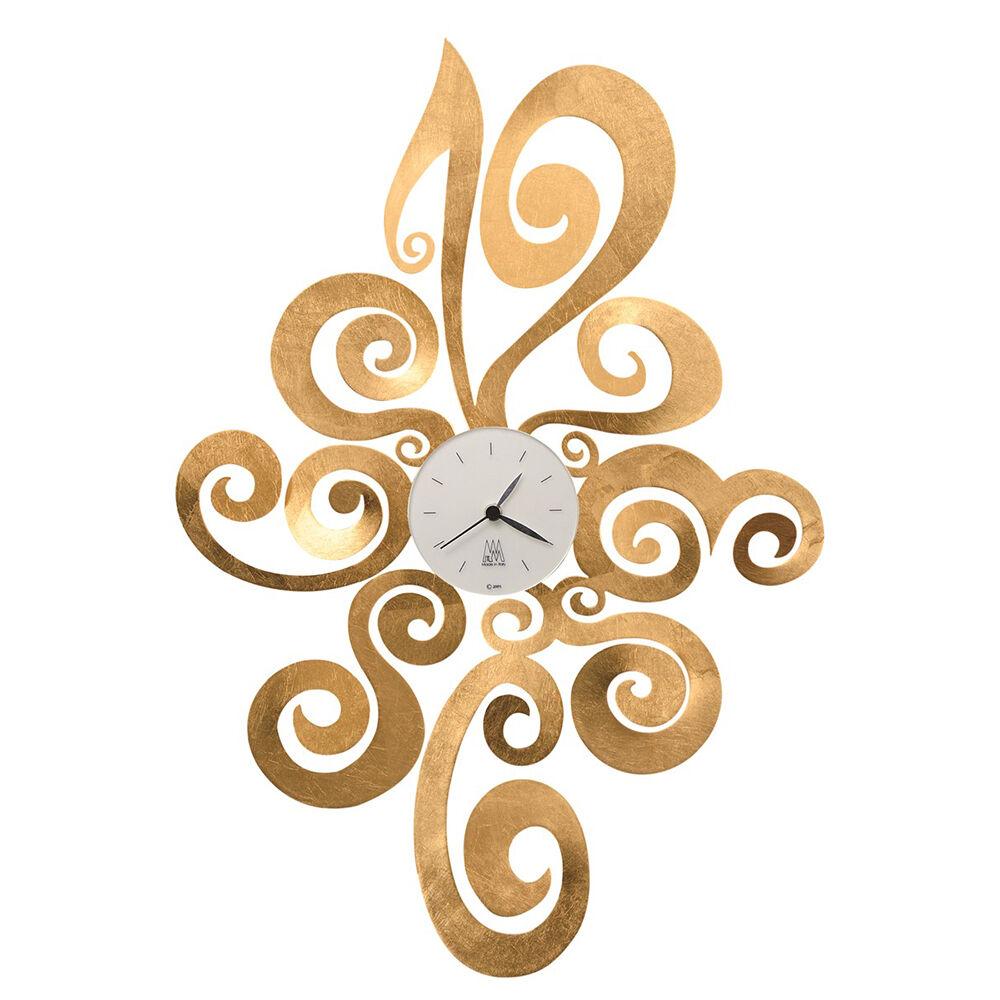 ARTI E MESTIERI orologio da parete NOEMI (Foglia oro - Metallo e vetro)