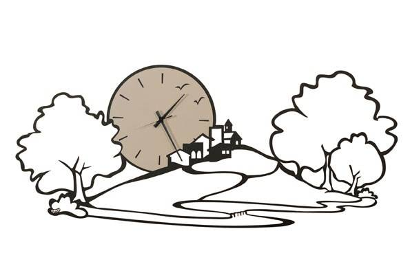 ARTI E MESTIERI orologio da parete PAESAGGIO (Nero - Metallo e vetro)